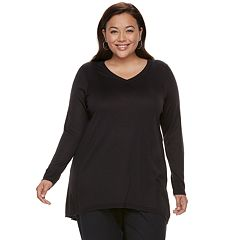 Plus Size Apt. 9® High-Low V-Neck Tunic Sweater