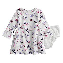 Disney's Mickey Mouse Club Mickey, Minnie & Daisy Baby Girl Long Sleeve Pocket Dress by Jumping Beans®