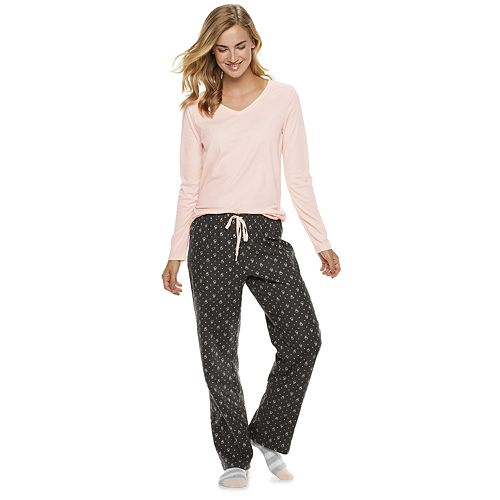 Women's SONOMA Goods for Life™ 3-Piece Sleep Tee, Pants & Sock Pajama Set