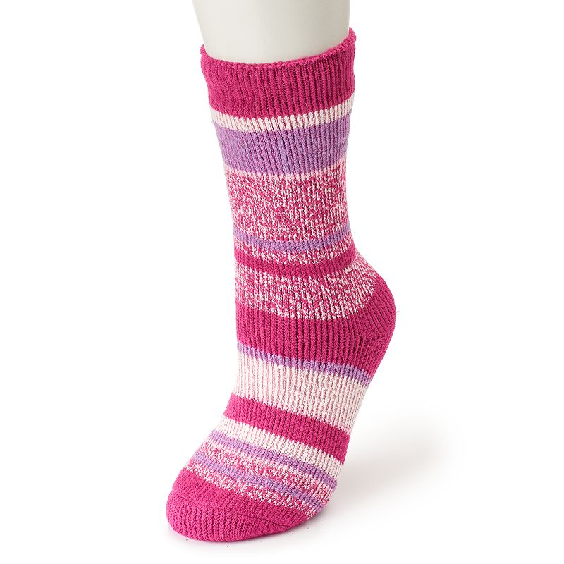 Women's Heat Holders Thermal Twist Striped Socks, Multicolor With a specially-designed thermal construction, these ultra cozy Heat Holders socks are a winter must-have. Crew styling Striped accents Moisture wicking Fabric & Care Acrylic, nylon, polyester, elastic Machine wash Imported Size: One Size. Color: Multicolor. Gender: Female. Age Group: Adult. Material: Cotton.
