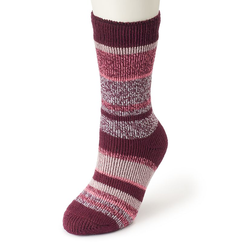 Women's Heat Holders Thermal Twist Striped Socks, Multicolor With a specially-designed thermal construction, these ultra cozy Heat Holders socks are a winter must-have. Crew styling Striped accents Moisture wicking Fabric & Care Acrylic, nylon, polyester, elastic Machine wash Imported Size: One Size. Color: Multicolor. Gender: Female. Age Group: Adult. Material: Poly Blend.