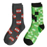 Boys 4-20 Minecraft 2-Pack Crew Socks