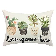 Cactus & Succulent 'Love Grows Here' Throw Pillow