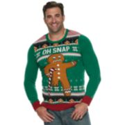 "Big & Tall ""Oh Snap"" Gingerbread Man Christmas Sweater"
