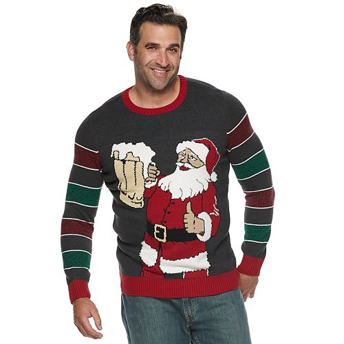 big tall beer santa striped sleeve christmas sweater