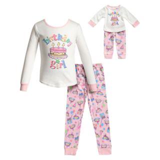 "Girls 4-14 Dollie & Me ""Birthday Girl"" Top & Bottoms Pajama Set & Matching Doll Pajamas"