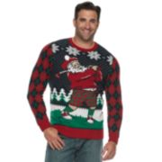 Big & Tall Golfing Santa Argyle Christmas Sweater