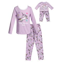 Girls 4-14 Dollie & Me 'Happy Unicorn Girl' Top & Bottoms Pajama Set & Matching Doll Pajamas