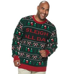 Big & Tall 'Sleigh All Day' Light-Up Christmas Sweater