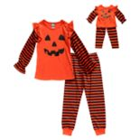 Girls 4-14 Dollie & Me Jack-o-Lantern Pumpkin Halloween Top & Bottoms Pajama Set & Matching Doll Pajamas