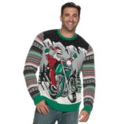 Big & Tall Motorcycle Santa Light-Up Christmas Sweater