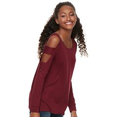 Juniors' Pink Republic Ladder Sleeve Cold-Shoulder Top