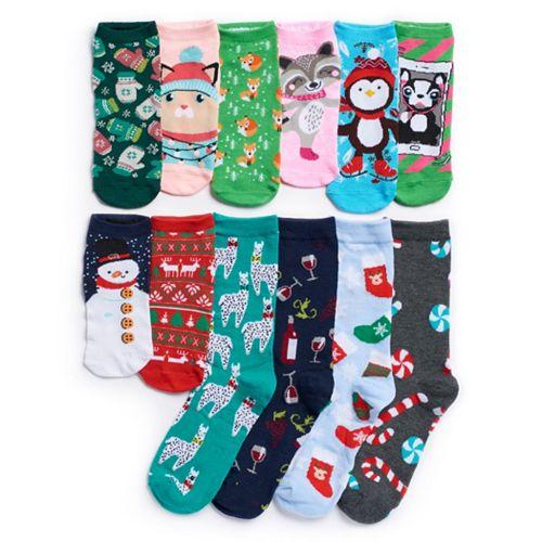 12 Days Of Christmas Socks.Women S Christmas 12 Days Of Socks Advent Calendar Set