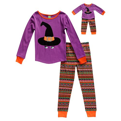 Girls 4-14 Dollie & Me Witch Hat Halloween Top & Bottoms Pajama Set & Matching Doll Pajamas