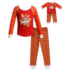 """Girls 4-14 Dollie & Me """"Top Turkey"""" Thanksgiving Top & Bottoms Pajama Set & Matching Doll Pajamas"""