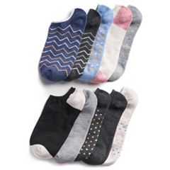 Women's SONOMA Goods for Life™ 10-Pack No-Show Novelty Socks