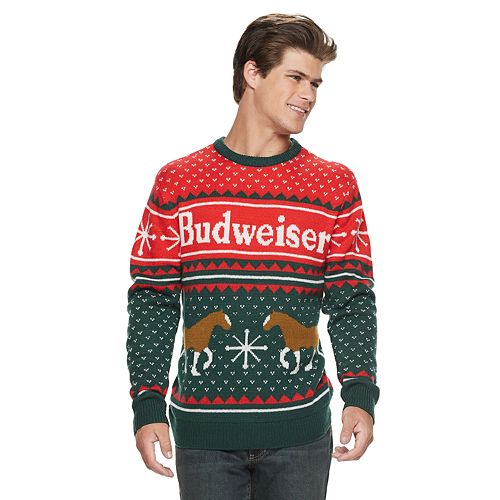 mens budweiser clydesdale christmas sweater