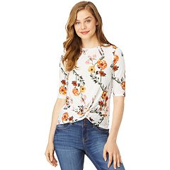 Juniors' WallFlower Floral Twist Front Tee