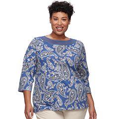 Plus Size Croft & Barrow® Crochet Trim Boatneck Top