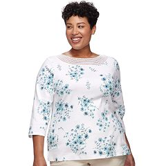 Plus Size Croft & Barrow® Crochet Trim Boatneck Top