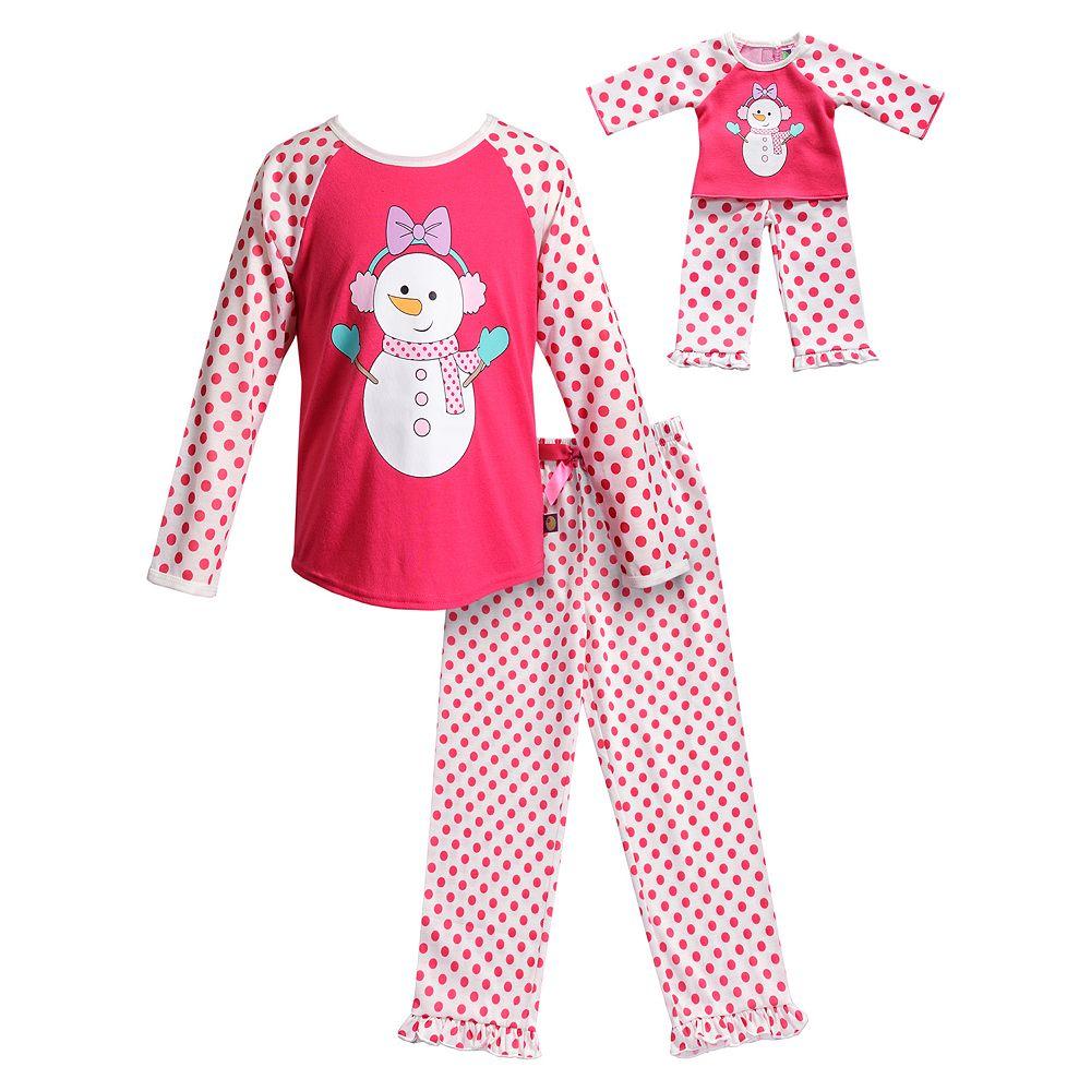 Girls 4-14 Dollie & Me Snowman & Polka-Dot Top & Bottoms Pajama Set & Matching Doll Pajamas