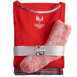 Plus Size SONOMA Goods for Life? 3-Piece Tee, Pants & Sock Pajama Set