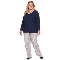 Plus Size SONOMA Goods for Life™ 3-Piece Sleep Tee, Pants & Sock Pajama Set