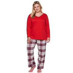 Plus Size SONOMA Goods for Life™ 3-Piece Tee, Pants & Sock Pajama Set
