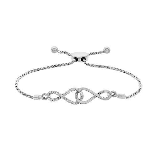 d28bef061ea94 Sterling Silver 1/4 Carat T.W. Diamond Double Infinity Bolo Bracelet