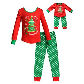 "Girls 4-14 Dollie & Me ""Rockin' Around the Christmas Tree"" Top & Bottoms Pajama Set & Matching Doll Pajamas"
