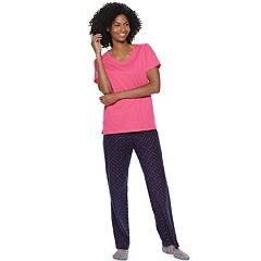 Women's SONOMA Goods for Life™ 3-piece V-Neck Tee, Pants & Sock Pajama Set