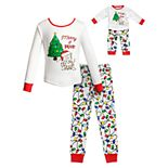 "Girls 4-14 Dollie & Me ""Merry & Bright"" Christmas Top & Bottoms Pajama Set & Matching Doll Pajamas"