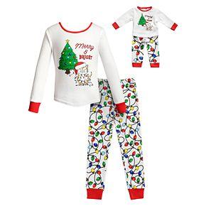 "Girls 4-14 Dollie & Me ""Merry & Bright"" Christmas Top & Bottoms Pajama Set & Matching Doll Pajamas"