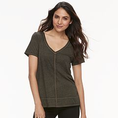 Women's Rock & Republic® Raw-Edge V-Neck Tee