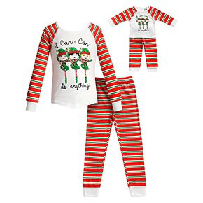 "Girls 4-14 Dollie & Me ""I Can-Can Do Anything"" Christmas Elf Top & Bottoms Pajama Set & Matching Doll Pajamas"