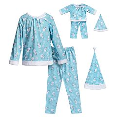 Girls 4-14 Dollie & Me Snowman & Snowflake Top, Bottoms & Hat Pajama Set & Matching Doll Pajamas