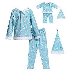 Girls 4-14 Dollie & Me Snowman & Snowflake Top, Bottoms & Hat Pajama Set & Matching Doll Pajamas