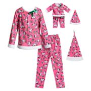 Girls 4-14 Dollie & Me Unicorn Top, Bottoms & Hat Pajama Set & Matching Doll Pajamas