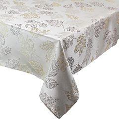 Celebrate Fall Together Metallic Leaf Tablecloth
