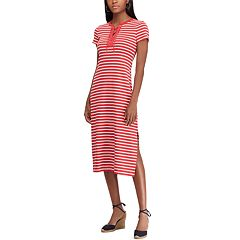 Petite Chaps Striped Lace-Up Midi Dress