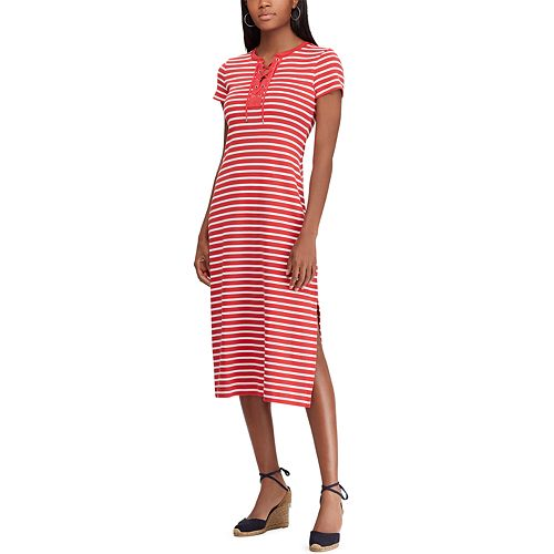 Petite Chaps Striped Lace-Up Midi Dress