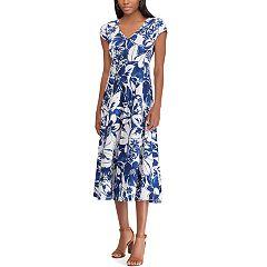 Petite Chaps Print Short Sleeve Jersey Dress