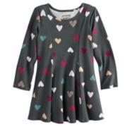 Toddler Girl Jumping Beans® Long Sleeve Princess Seam Heart Print Dress