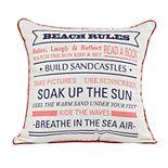 Spencer Home Decor ''Beach Rules'' Throw Pillow