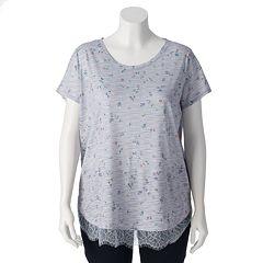 Plus Size LC Lauren Conrad Lace-Trim Top