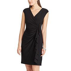 Petite Chaps Surplice Ruffle Dress