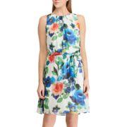 Petite Chaps Floral A-Line Dress