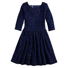 Girls 7-16 Lavender Long Sleeve Sequin Dress