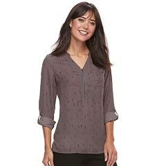 Women's Apt. 9® Georgette Zipper Accent Top