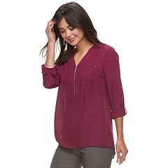 Women's Apt. 9® Georgette Zipper Accent Blouse